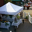 Tent with chocolate fountain and fruit