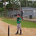Sam gets ready to bat.