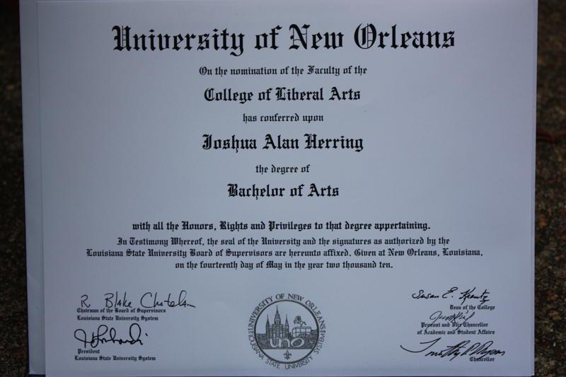 Josh's diploma
